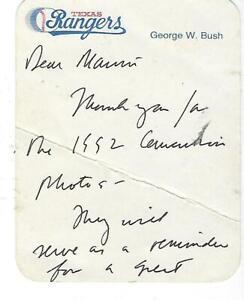 George W Bush Autograph Signature Texas Rangers Stationary Card