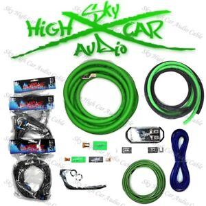 Sky High Car Audio Green 1/0 AWG to Dual 4 Gauge Complete Amp Kit Split Ga
