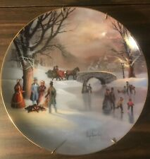 2 Ws George Scenes Of Christmas Past Plates, Christmas Eve and Holiday Skaters