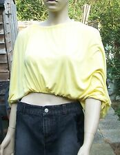 JOIN CLOTHES Yellow Cropped Elasticated Hem Tie Neck Batwing Sleeves Drape Top S