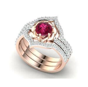 Exquisite 14K Rose Gold Ruby Diamond Ring Set Ladies Wedding Anniversary Jewelry