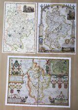 3 x Old Antique Colour maps of Bedfordshire, England: 1600's & 1800's: Reprint