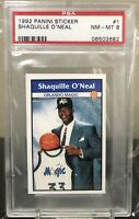 1992-93 Panini Sticker Shaquille O'Neal #1 PSA 8 RC Rookie RARE