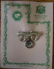 OXEN YOKE PEWTER PIN WITH HANDCART CHARM - FAITH IN EVERY FOOTSTEP 1997 MORMON 2