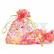20/40/60/100pcs 7x9cm Heart Love Flowers Pouches Organza Jewelery Gift Bags