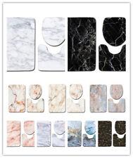 3Pcs/Set Marble Pattern Bathroom Non-Slip Pedestal Rug Lid Toilet Cover Bath Mat