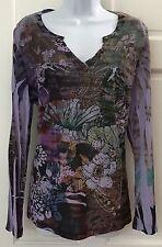Bleu Velvet Multi-Color Tunic Knit Top SZ XL Stretchy Sublimation Floral Studded