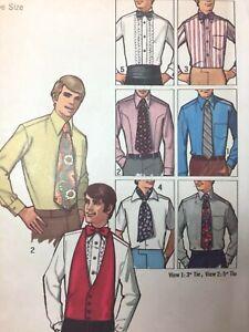 "Vintage 1970s Mens TIE Pattern 5"" WIDE 3"" WIDE TIE Ascot Simplicity 9192 UNCUT"