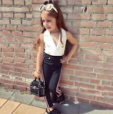 Toddler Kids Baby Girls Clothing Sets White Tops + Black Pants Outfit Clothes