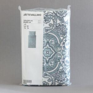 IKEA JÄTTEVALLMO Bettwäsche Set weiß blau Paisleymuster Satin 140x200 cm   NEU