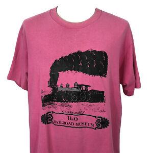 Vintage 90s William Mason B&O Railroad Museum Pink Single Stitch T Shirt Men XL