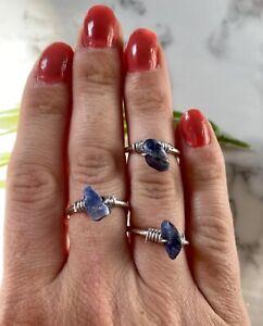 Sodalite gemstone chip Wire wrap Ring Adjustable Crystal chakra healing blue