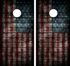 VINTAGE AMERICAN FLAG .Cornhole Board Game Decal Wraps USA High Quality