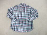 Peter Millar Button Up Shirt Adult Extra Large Blue White Plaid Casual Mens B17