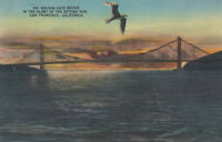Linen Postcard A351 Golden Gate Bridge in Glory of Setting Sun San Francisco CAL