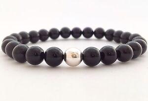 MEN'S Natural Black Onyx Sterling Silver 925 Beaded Jewelry Stretch Bracelet