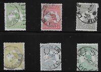 Australia Scott #1-3, 5, 8 & 10, Single 1913 FVF Used