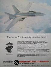 12/1977 colt ad chandler evans f-18 afterburner fuel pumps keith ferris ad