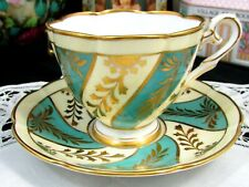 ROYAL STAFFORD BLUE AND CREAM GOLD GILT SWIRLS TEA CUP AND SAUCER
