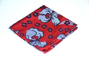 Lord R Colton Masterworks Pocket Square - Red Blue Aftermath Silk - $75 Retail