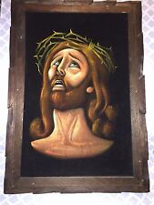 Vintage Religious Oil Painting Velvet Crying JESUS CHRIST Crown of Thorns EASTER