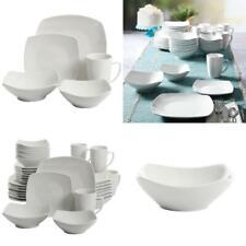 40-Piece Dinnerware Set White Ceramic Kitchen Dish Square Dinner Plates Mugs New