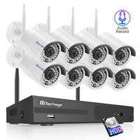 Techage 8CH 1080P AHD DVR 2//4//8 PCS 2.0MP HD Security Camera CCTV System+2TB HDD