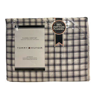 TOMMY HILFIGER Cotton Flannel Sheet Set Blue Gray Windowpane King (MSRP $200)