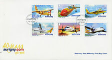 Alderney 2008 FDC Aurigny 40 Years 6v Set Cover Planes Airplanes Aviation Stamps