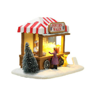Christmas Ornament Glowing Popcorn Wagon Desktop Decoration Craft with Light