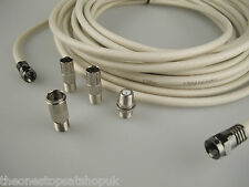 10m White Universal RF Coax Aerial Satellite Sky Cable TV Extension Lead Kit