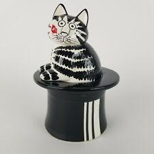 Vintage B Kliban Cat Jar Black Top Hat Figurine 70s Japan Treat Cookie Box 8in