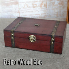 Vintage Jewelry Gift Box Wooden Treasure Trinket Retro Storage Case Best
