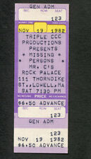 Original 1982 Missing Persons unused concert ticket Lowell MA Spring Session M
