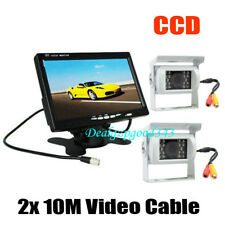 "2x 18LED IR CCD Reversing Camera + 7"" LCD Monitor Car Rear View Kit White 12-24V"