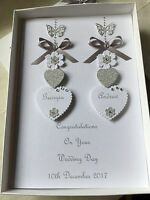 Handmade Personalised Boxed Wedding Card Engagement Anniversary Silver 25th 60th