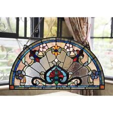 """Tiffany Style Victorian Stained Glass Window Panel 24"""" Half Circle Handcrafted"""