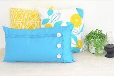 Aqua Oblong Cushion Cover Button & Loop Blue Pillow  Handmade Ruffles Detail