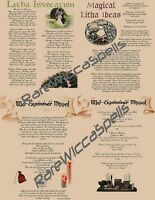 Litha Midsummer Sabbat 4pg parch set for Wicca Spell Book of Shadows or Poster