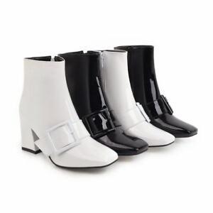 Ladies Buckle Strap Square Toe Side Zip Block Heels Chelsea Ankle Boots Shoes