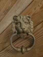 Antique Heavy Cast Brass LION HEAD Door Knocker