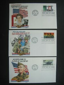 US FDC WWII GI GOLD STAR SALERNO Lot First Day Issue Nice Cache Stamp Postal