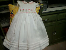 white embroidered handmade spanish style dress with slip 2 year old
