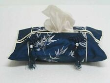 Blue Chinese Silk Tissue Box Cover Tassels Bamboo Zsc06