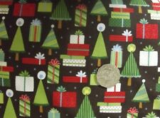 Quilting Patchwork Sewing Fabric CHRISTMAS TREES ON BROWN XMAS 50x55cm FQ New...