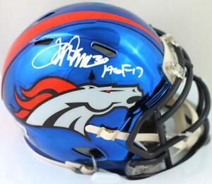 Terrell Davis Autographed Broncos Chrome Mini Helmet w HOF- Beckett W *White