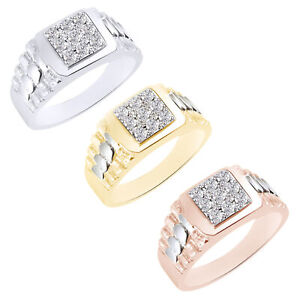 1/3 Ct Simulated Diamond 14K Gold Over Heavy Cluster Designer Men's Ring