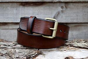 Handmade Full Grain Dark Brown Genuine Leather Belt Antique Brass Nickel Buckle
