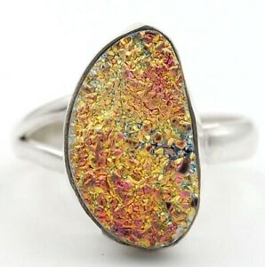 Natural  Titanium Druzy 925 Solid Sterling Silver Ring Sz 8, GD5-3