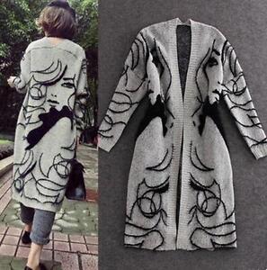 Womens long sweater jumper Knit long cardigan jacket coat trench parkas tops